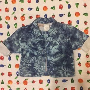 Floral Denim Short-Sleeve Jacket